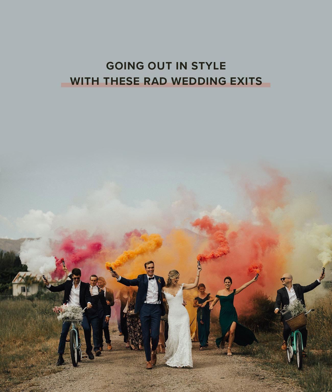 wedding exit ideas colorful smoke bomb
