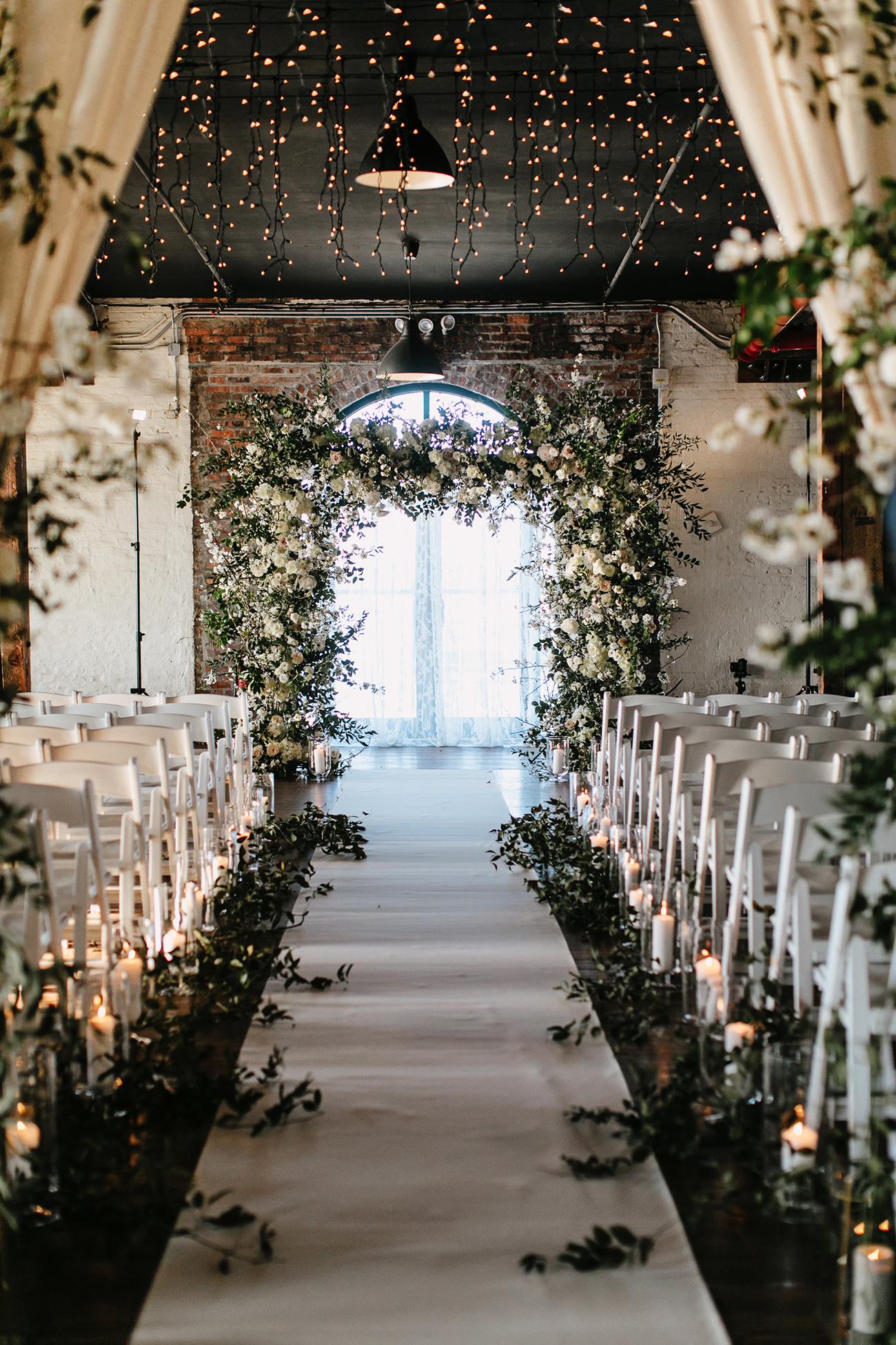 Fairy lights wedding ceremony