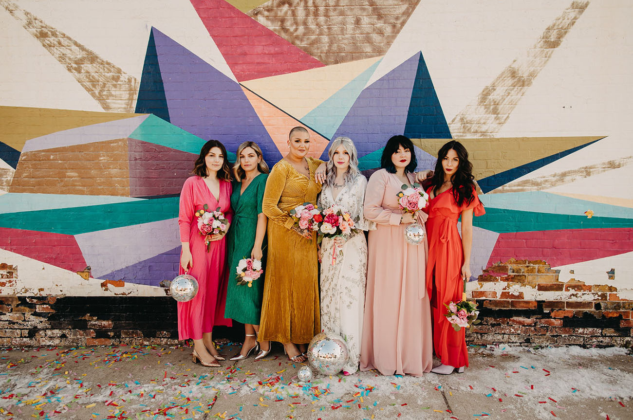 rainbow bridesmaid dresses