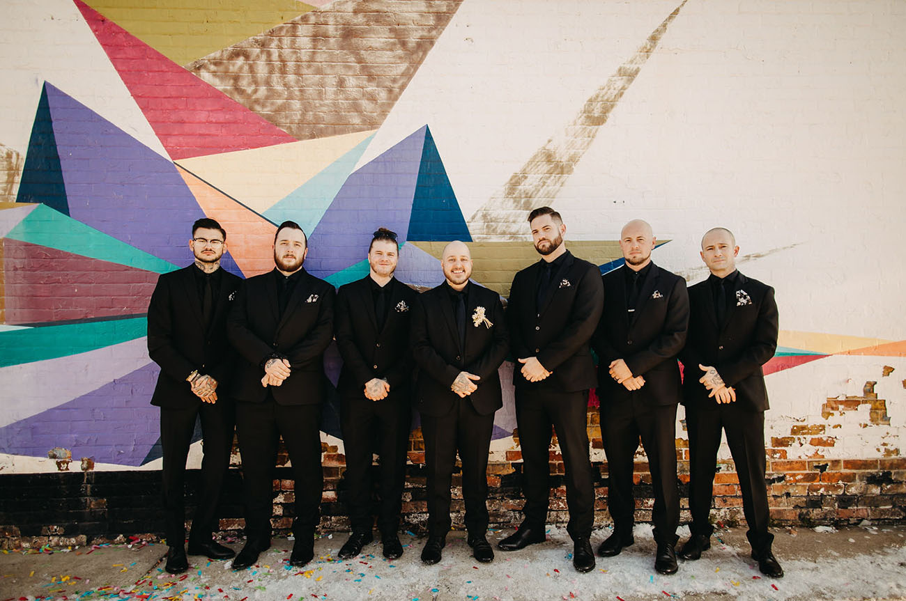 all black groomsmen attire