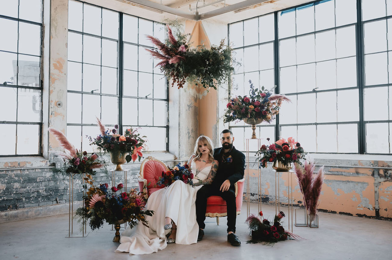 Edgy Non-traditional Warehouse Wedding Inspiration
