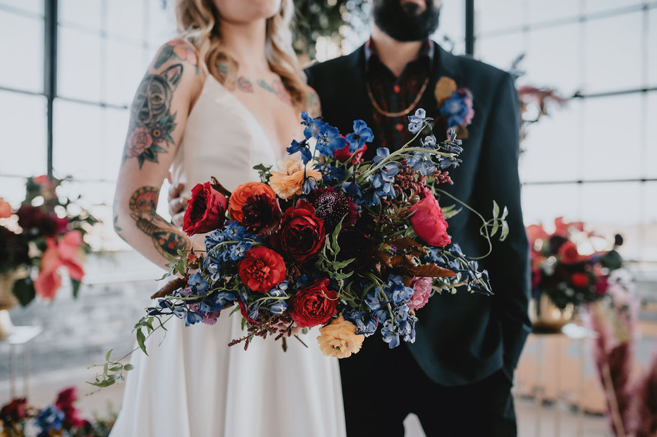 red and blue flower bouquet