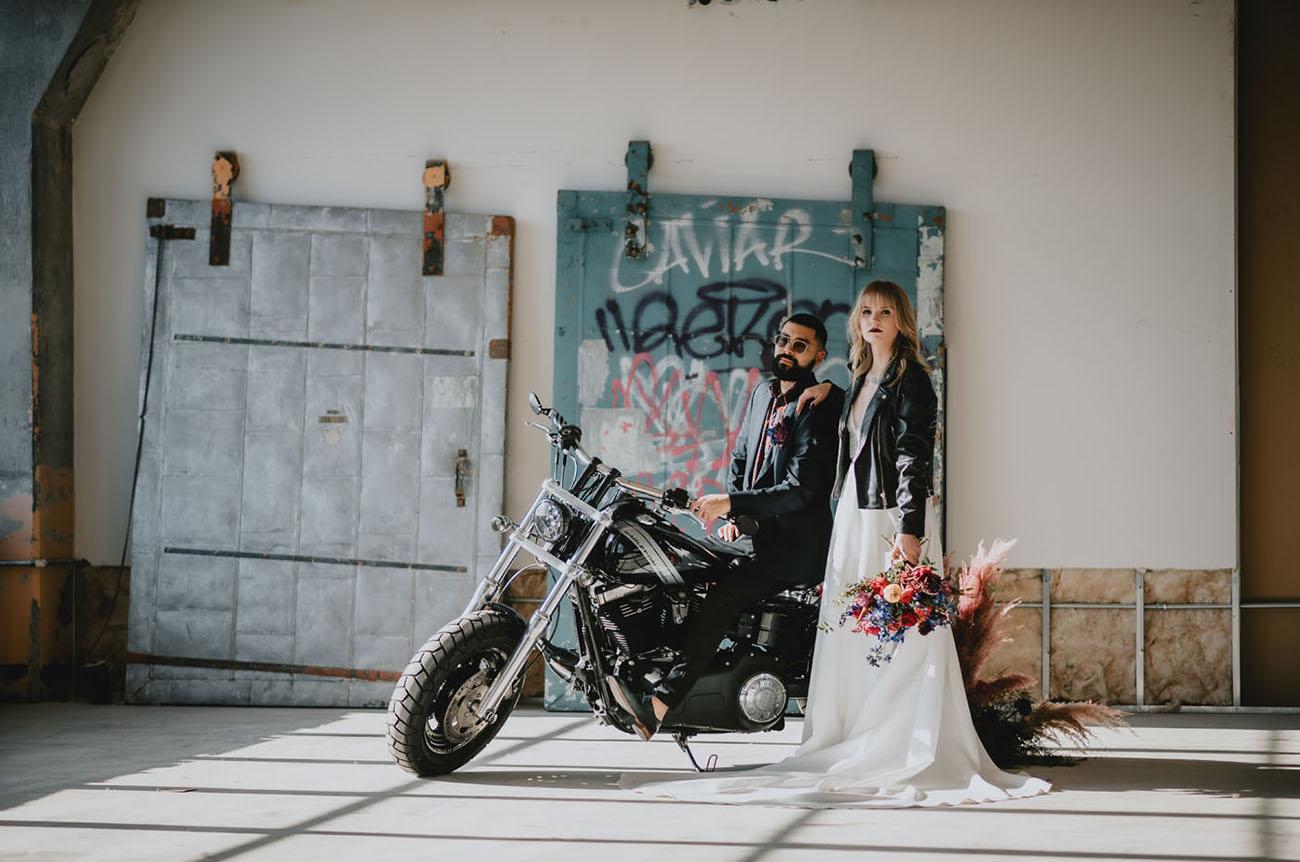 wedding with motorcycle