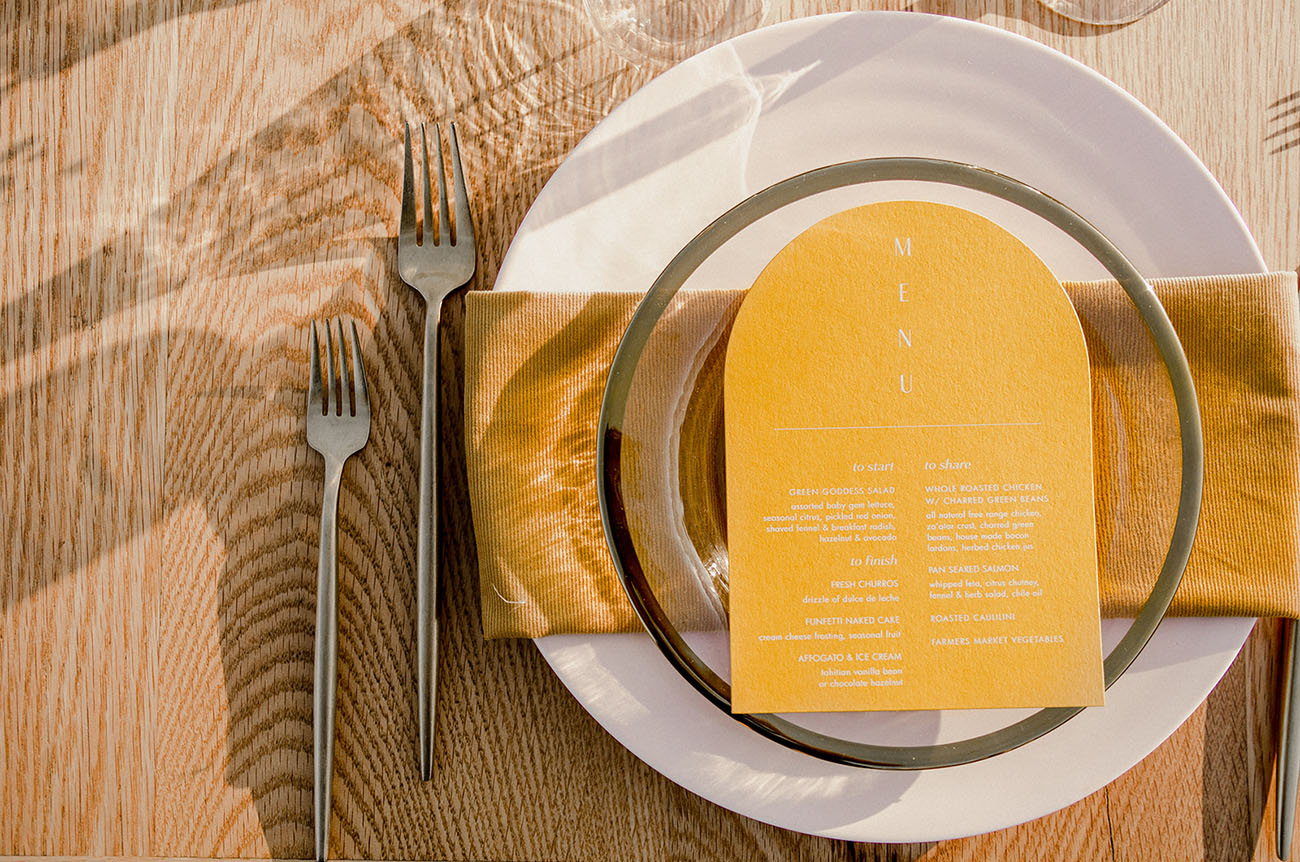 yellow dinner menu