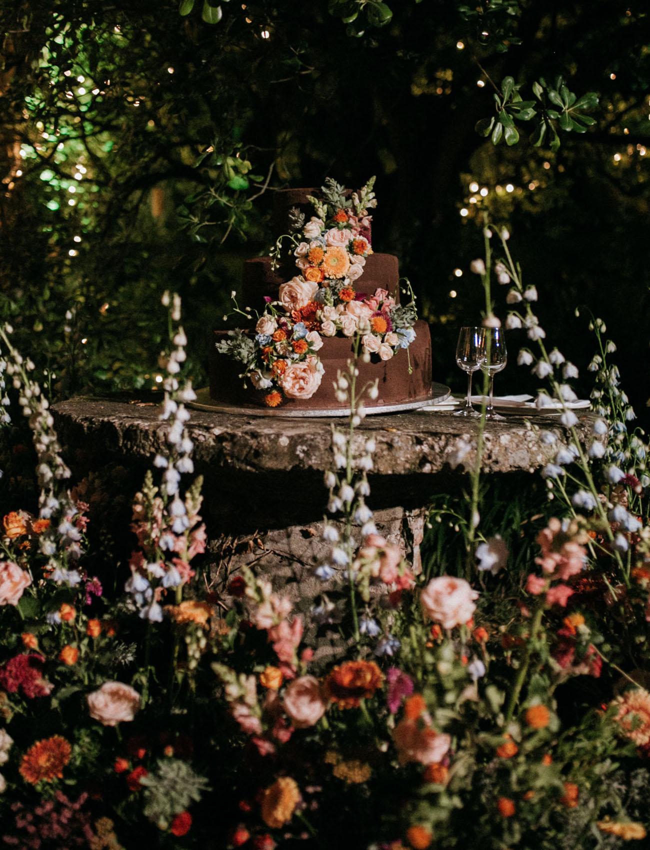 flower covered wedding cake