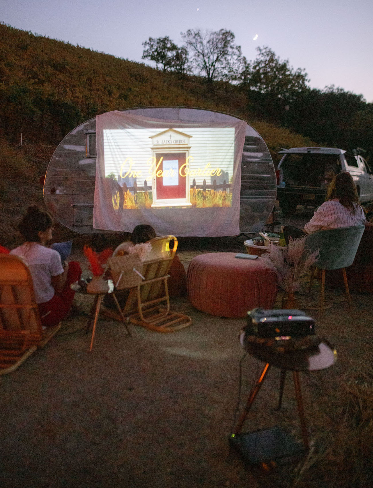 movie projector outside