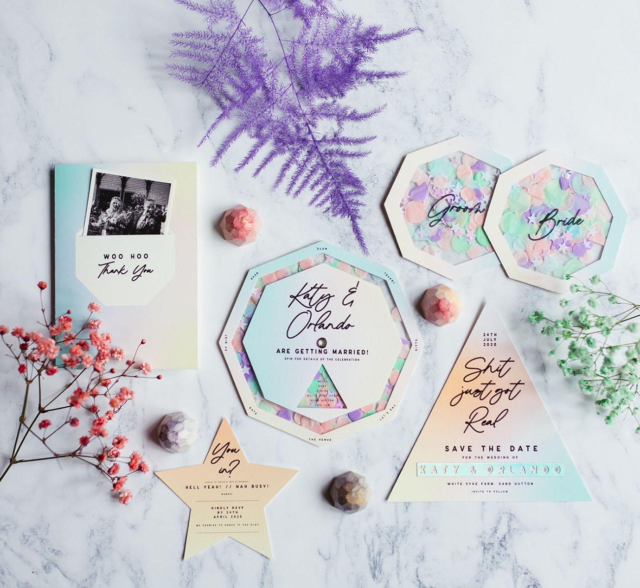 modern iridescent invitation