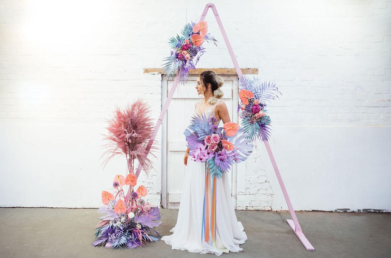 neo pastel floral backdrop