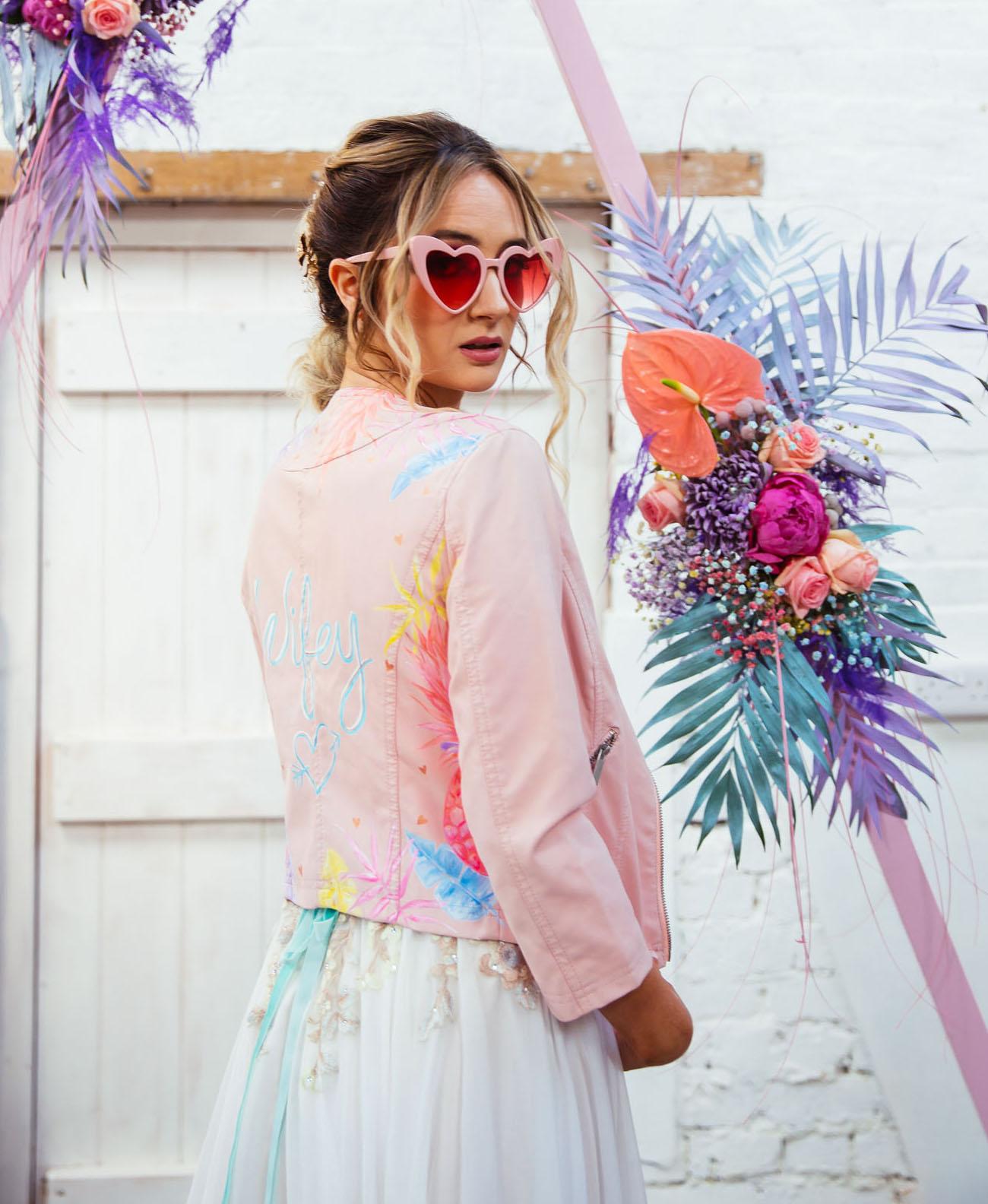 painted pink bridal jacket
