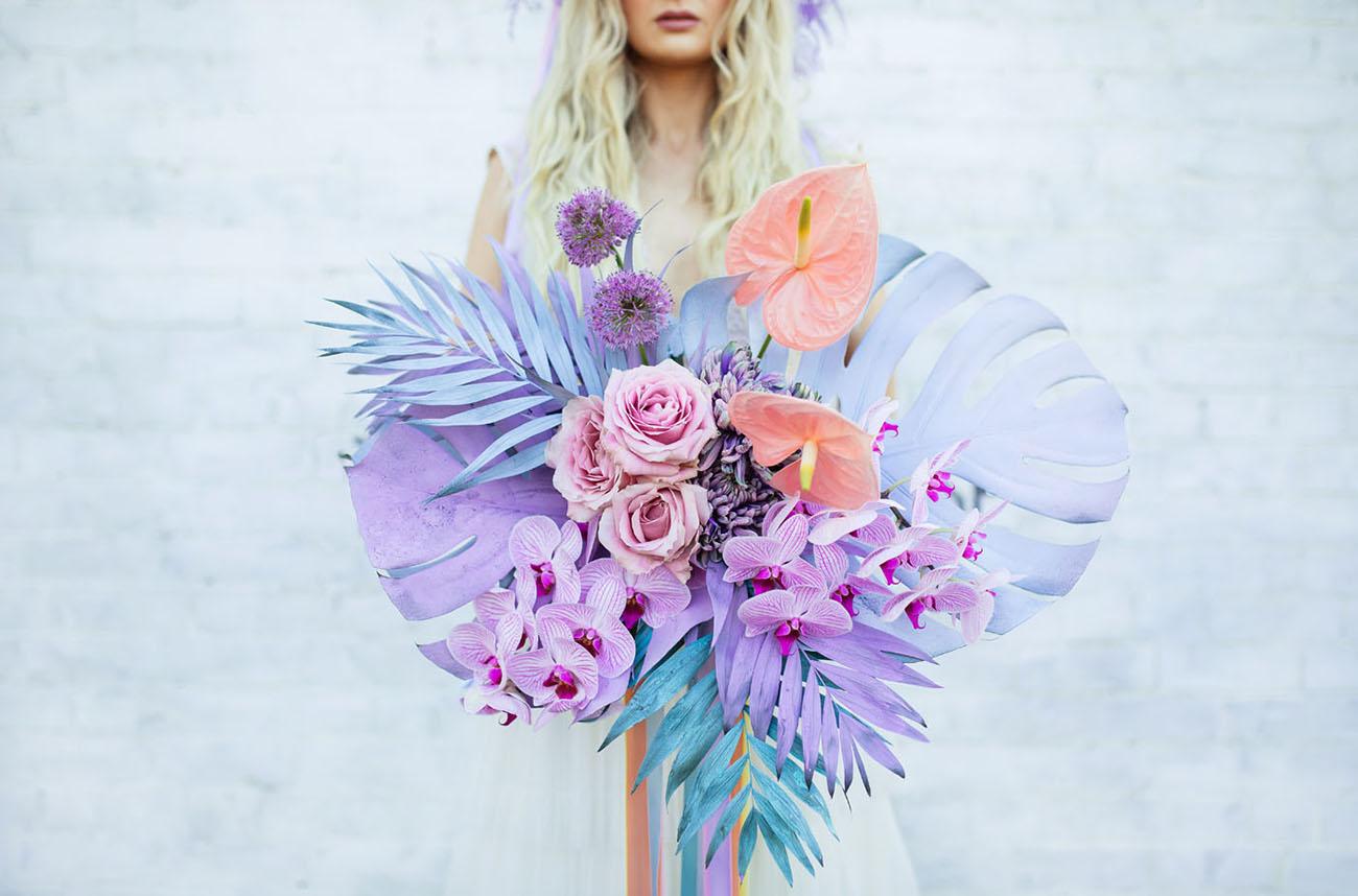 paint palm purple bouquet