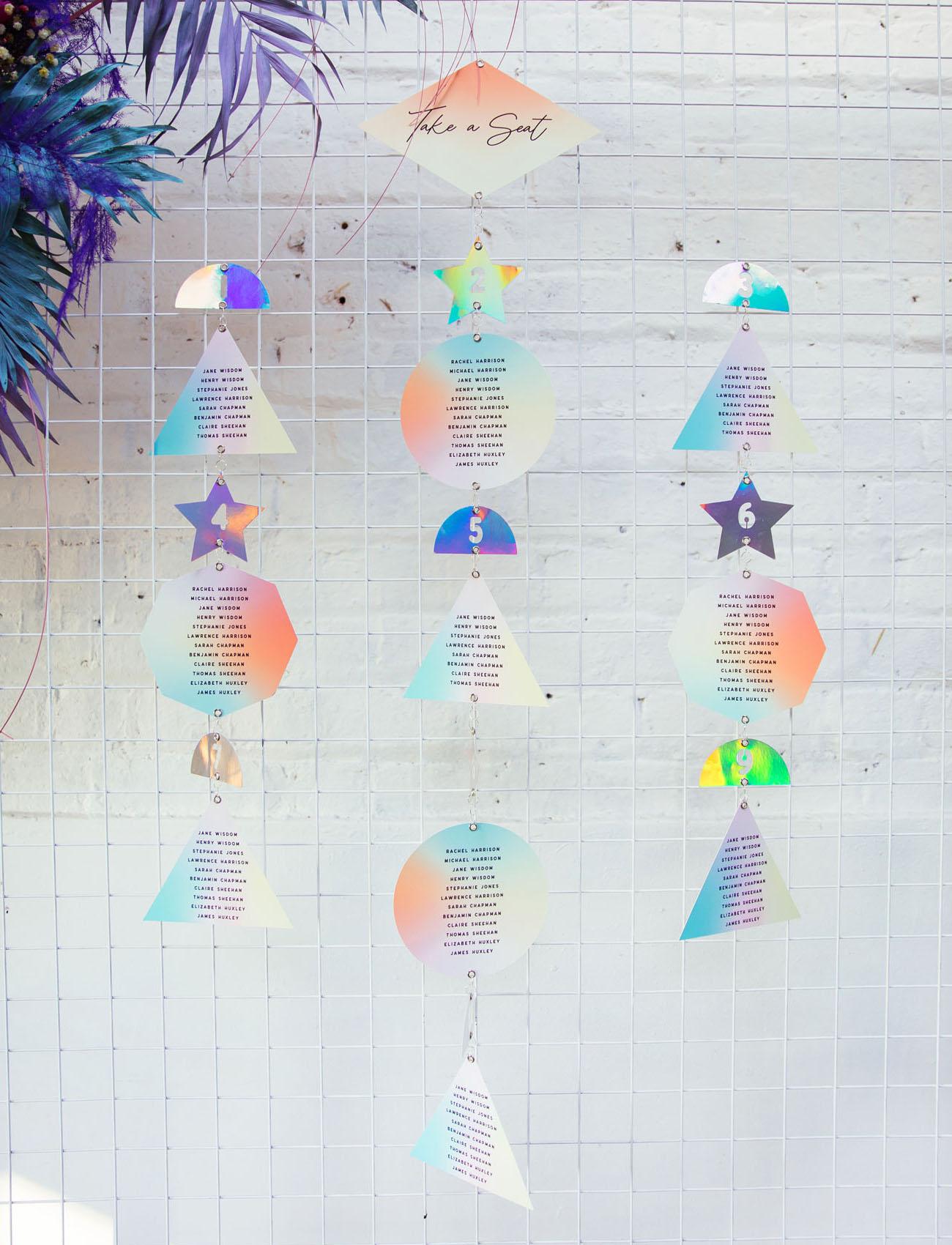 iridescent shape seating chart
