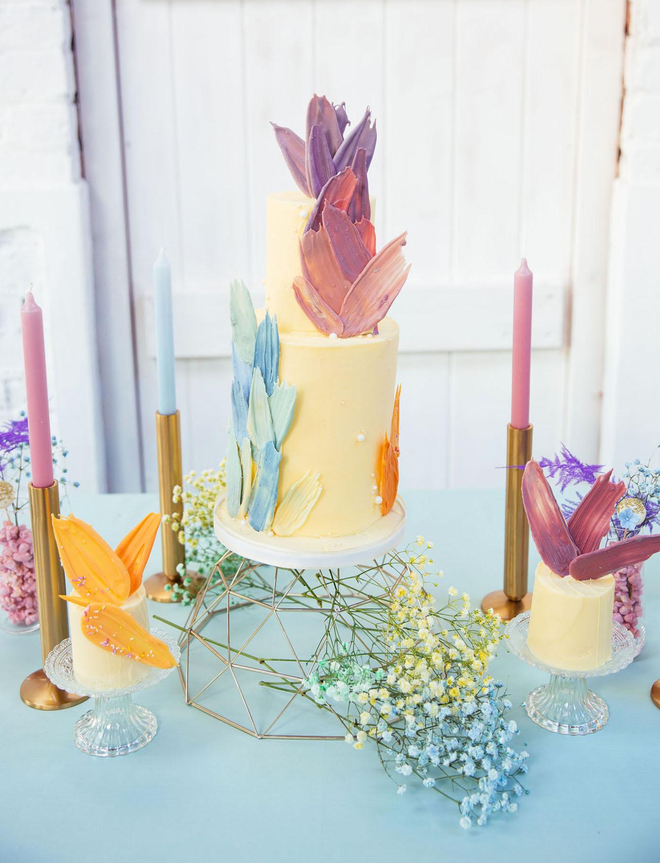 modern pastel wedding cake