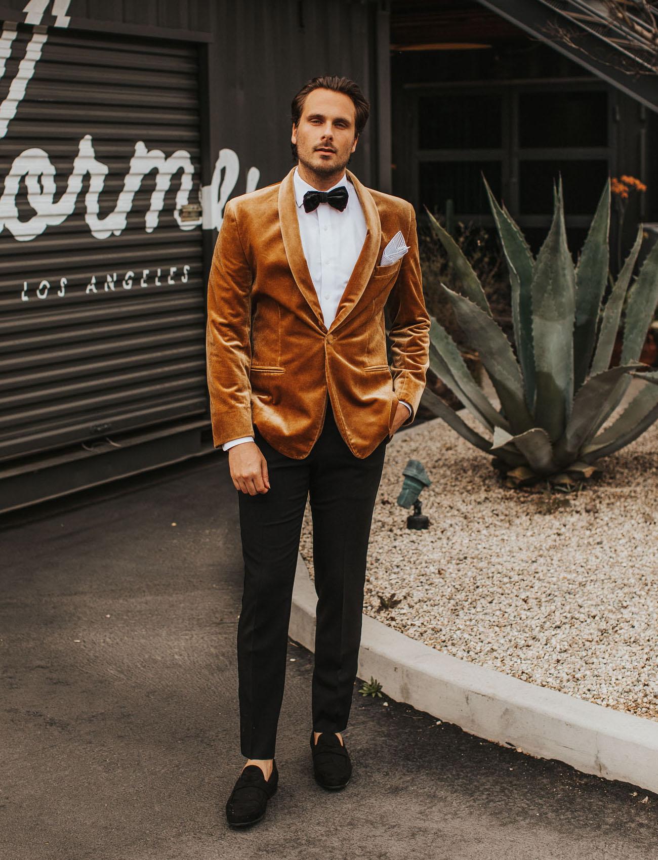 gold velvet wedding jacket