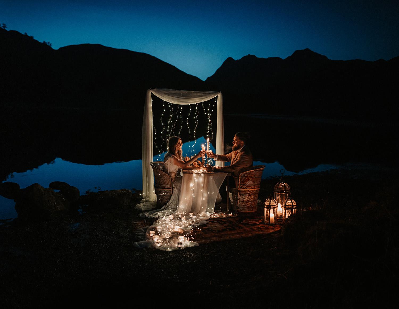 Fairy lights for romantic dinner