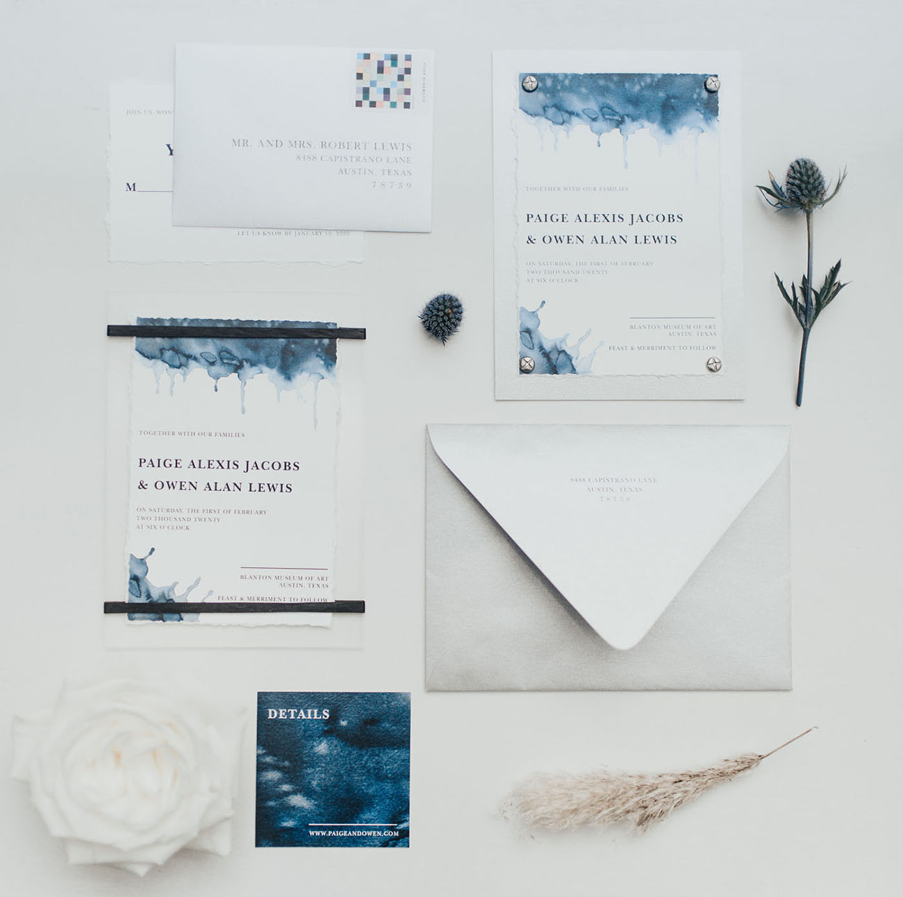 blue dyed wedding invitation suite