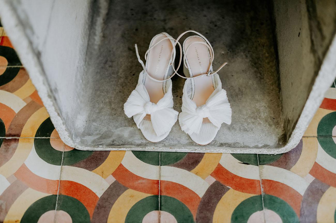 white bridal heels