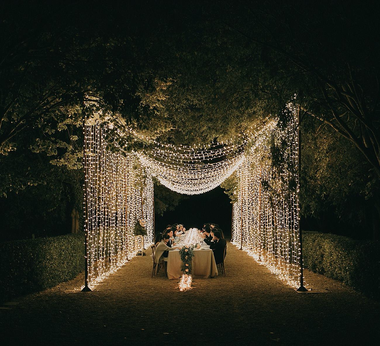Dinner under a curtain of fairy lights