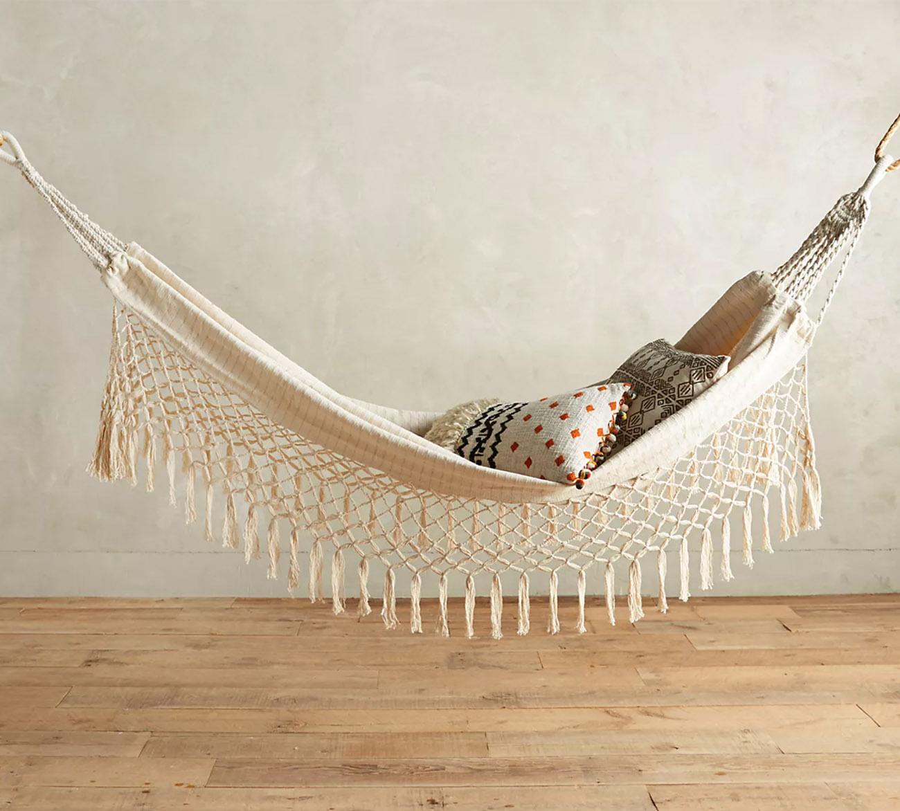 anthro boho fringe hammock