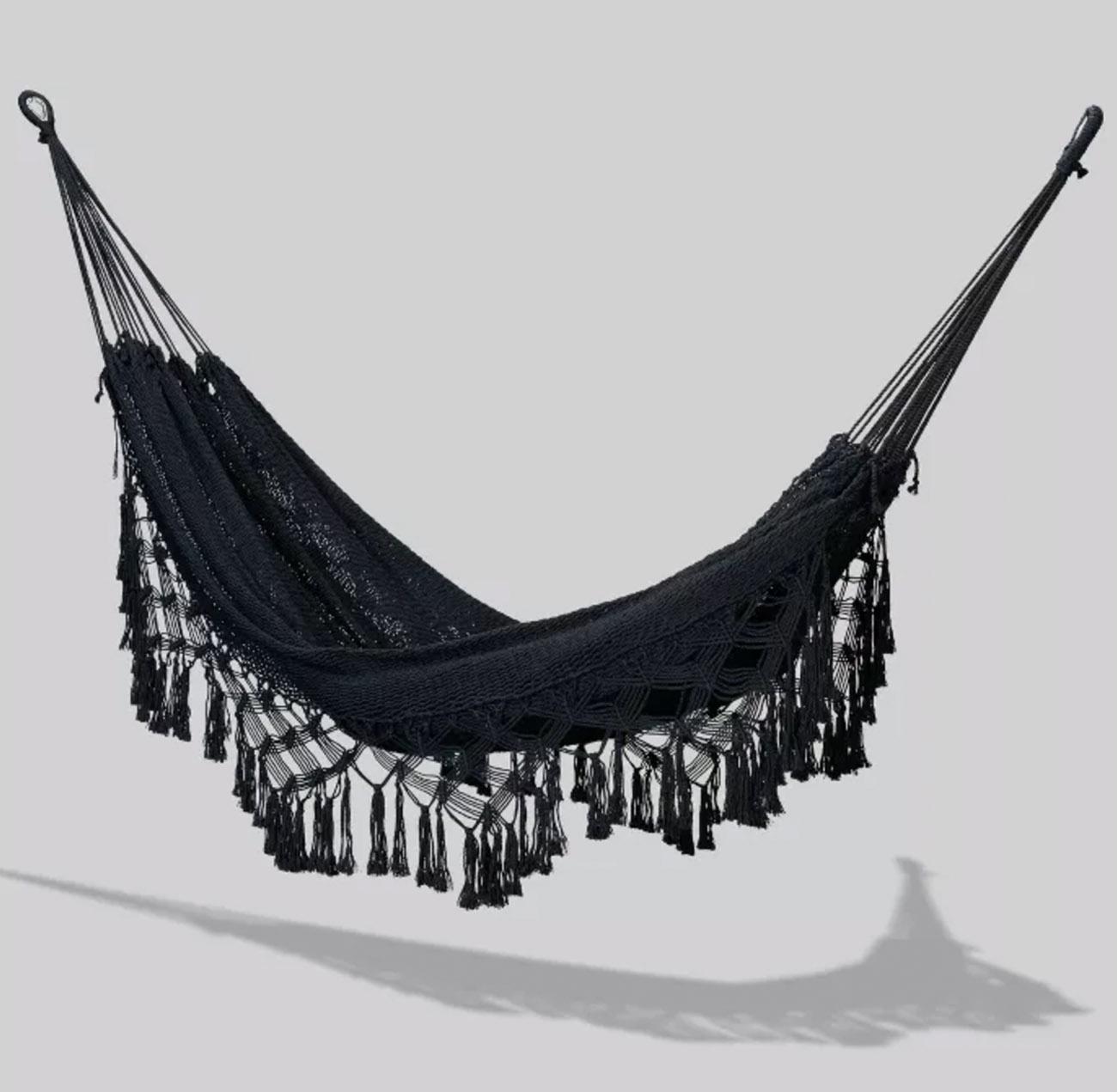 black boho fringe hammock