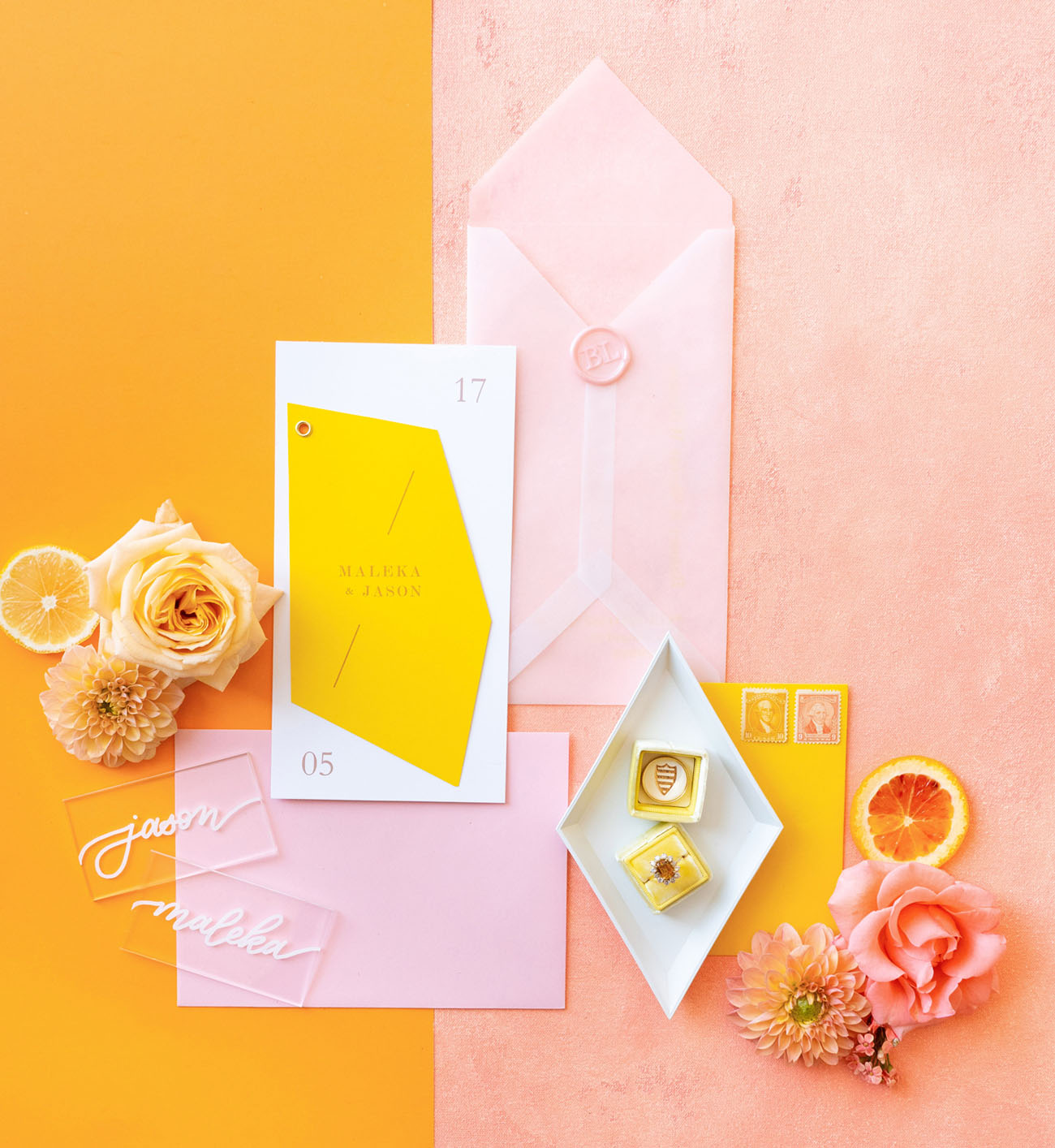 pink and yellow invitation suite
