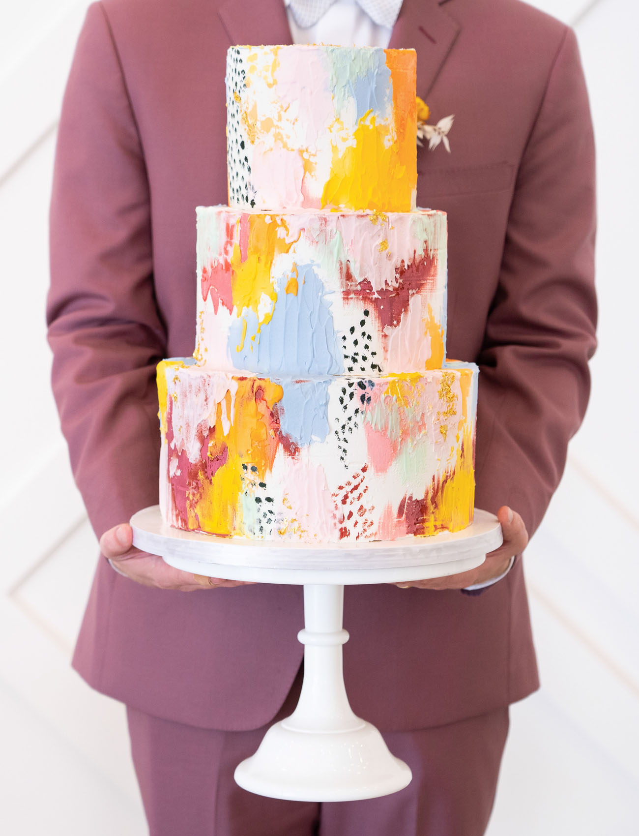 modern painted cake