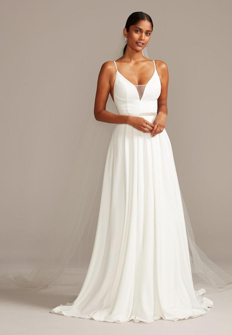 David's Bridal Simple Modern Wedding Dress
