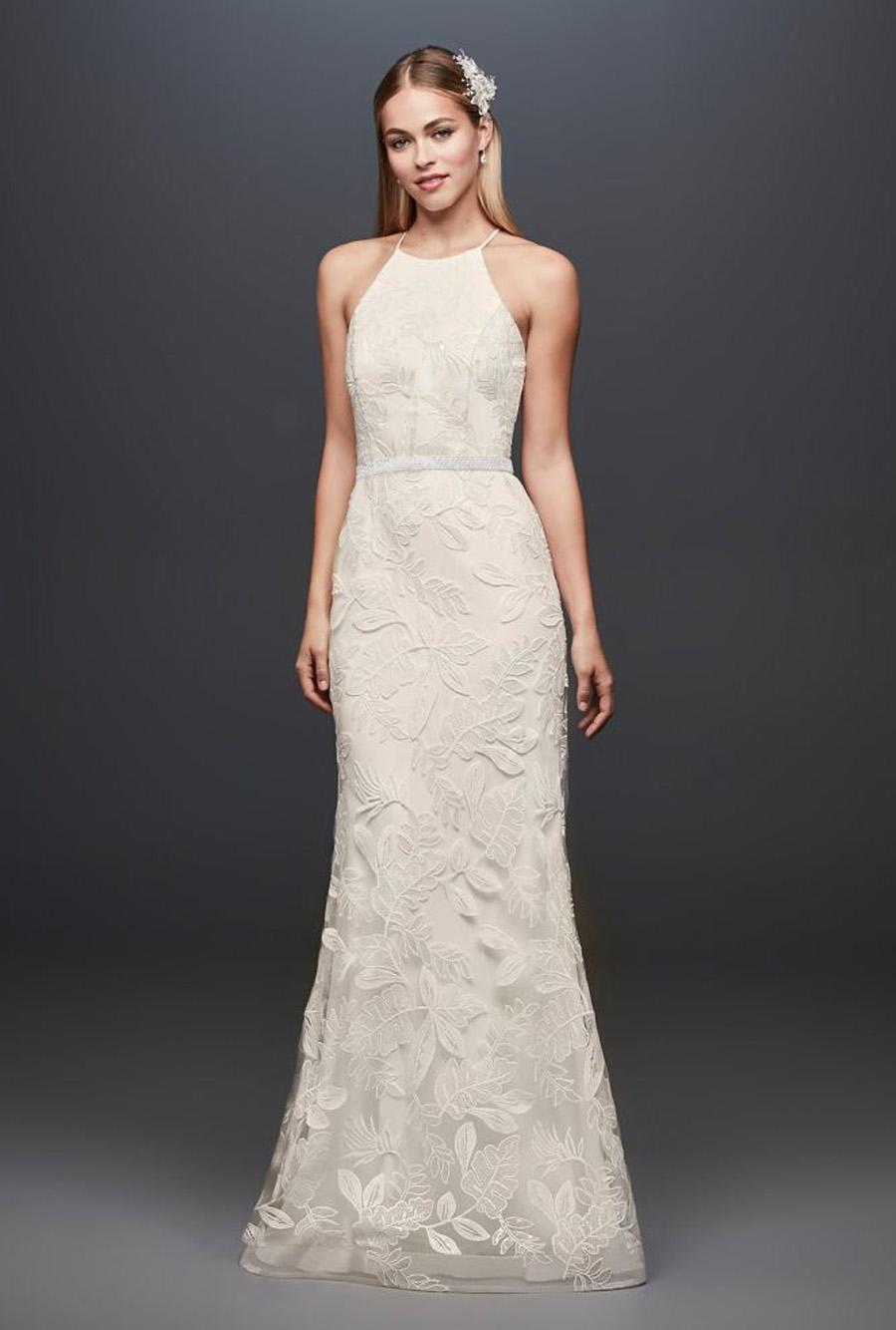 David's Bridal Sequin Leaf-Appliqued Gown