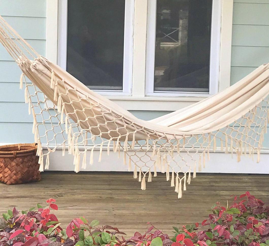 fringed crochet hammock