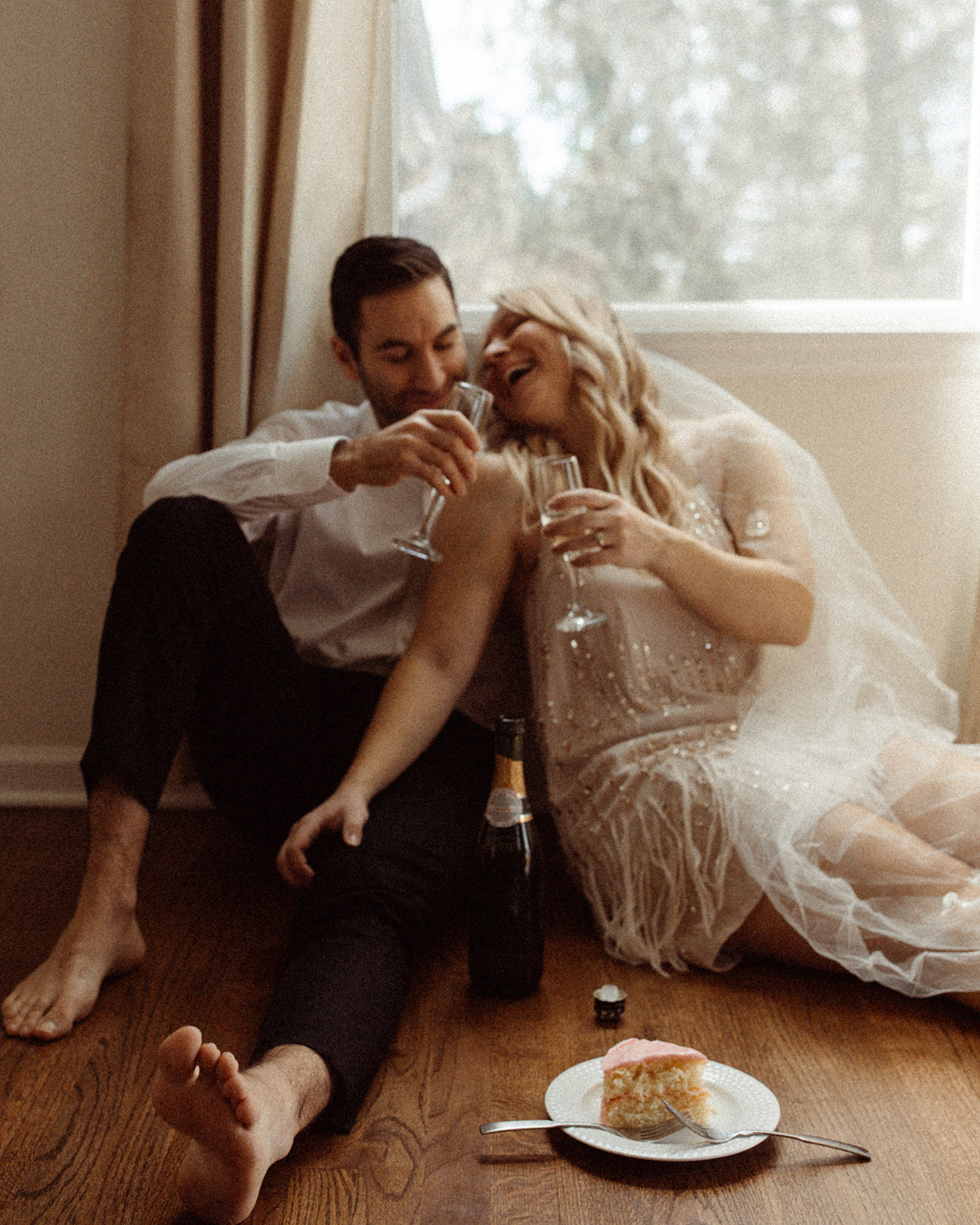 bride and groom in home wedding