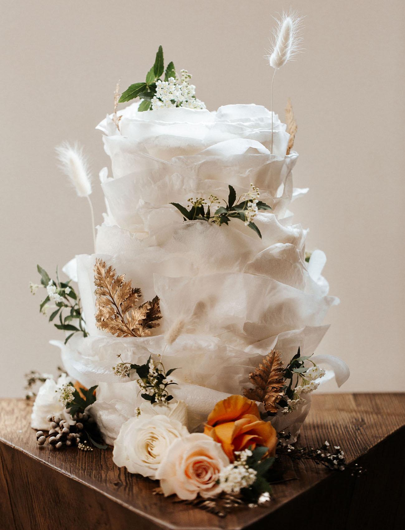 white whimsical wedding cake
