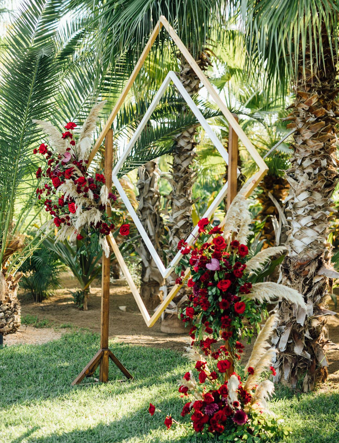 red ceremony flowers
