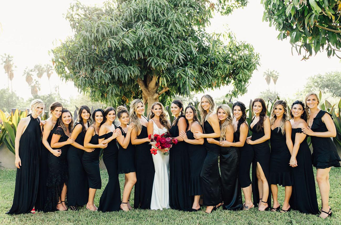 all black bridesmaid dresses