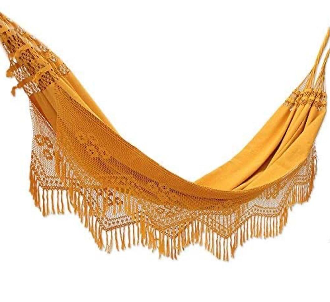 mustard fringe hammock