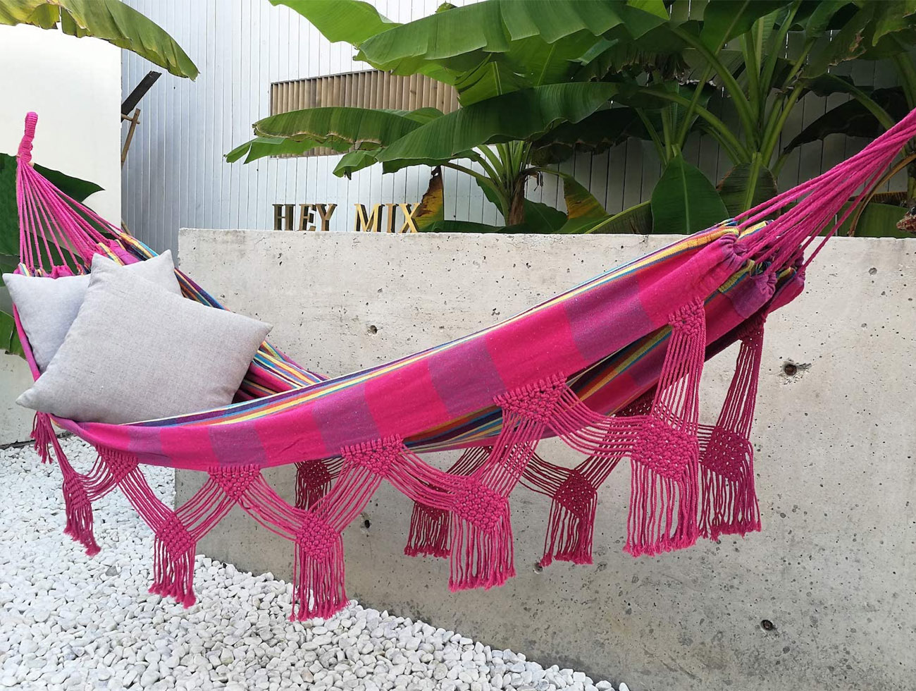 pink fringe hammock