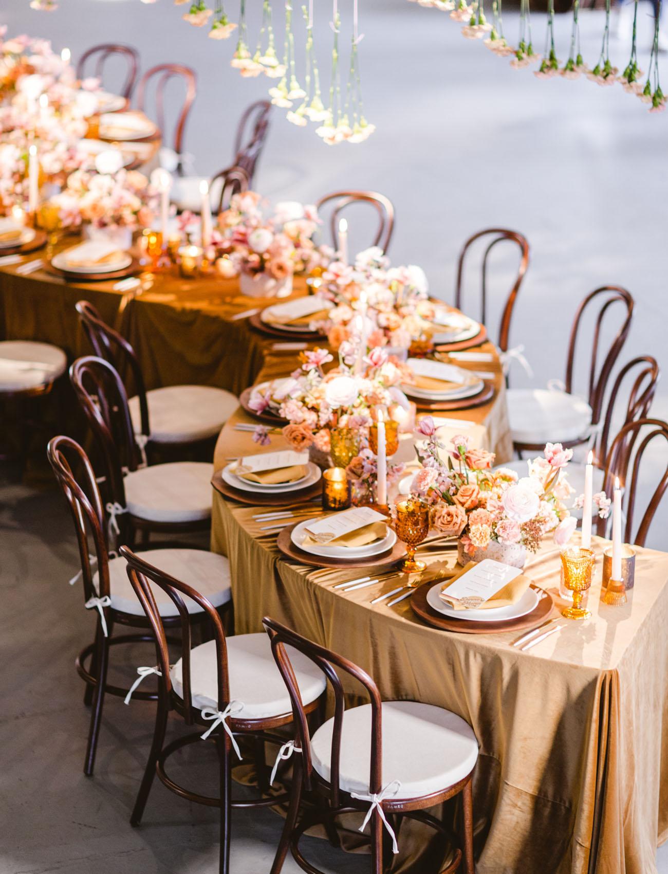s shape reception tables