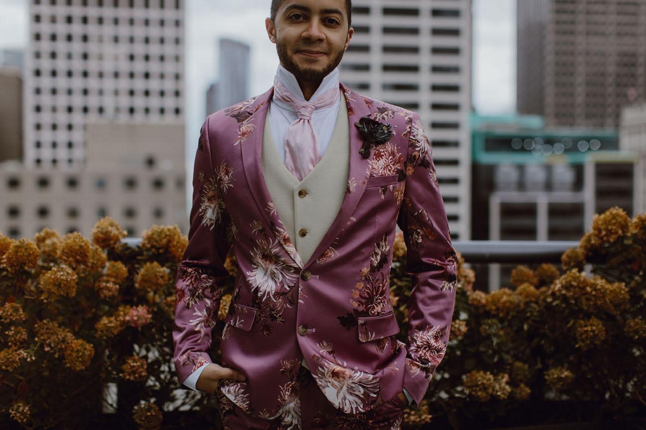 pink floral grooms suit
