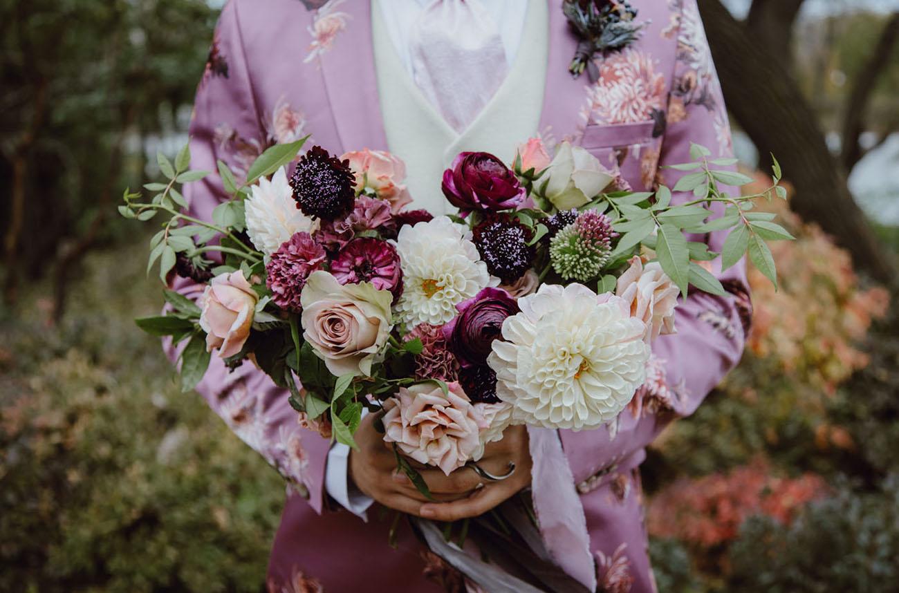 moody ranunculus bouquet