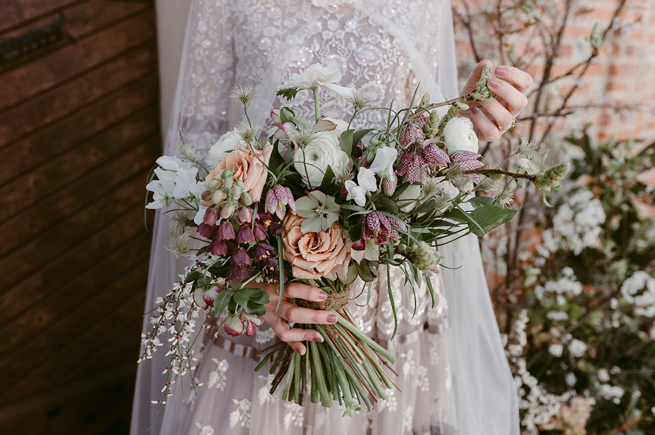 peach and purple bouquet