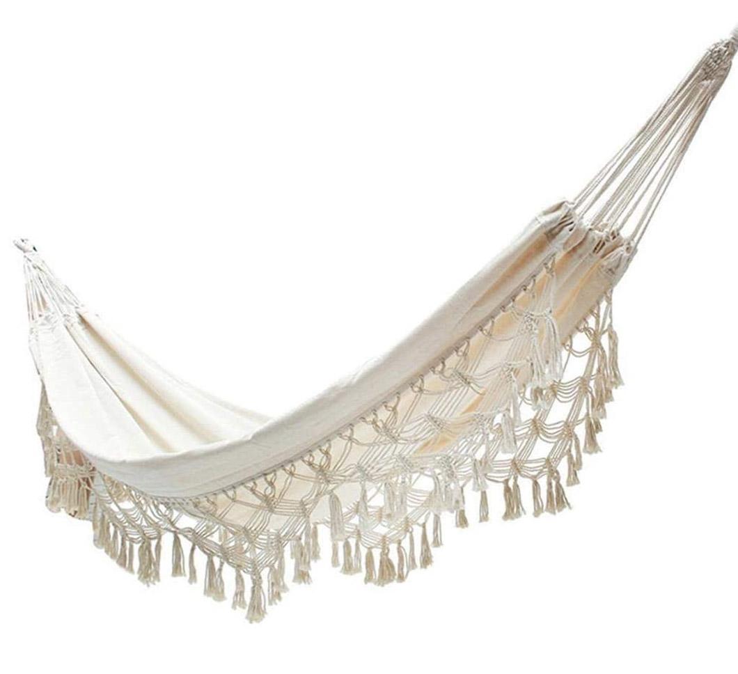 white boho fringe hammock