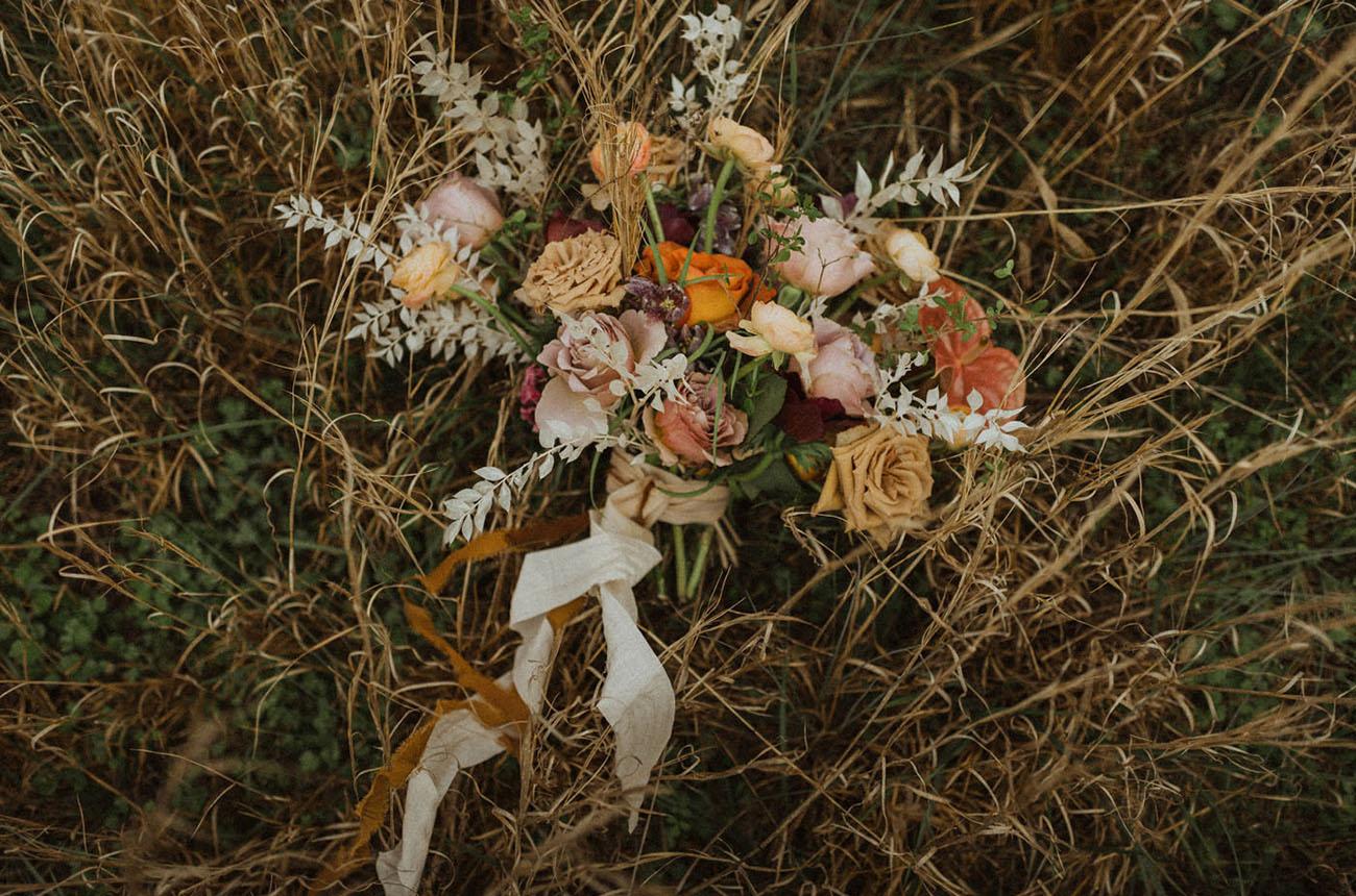 orange boho bouquet
