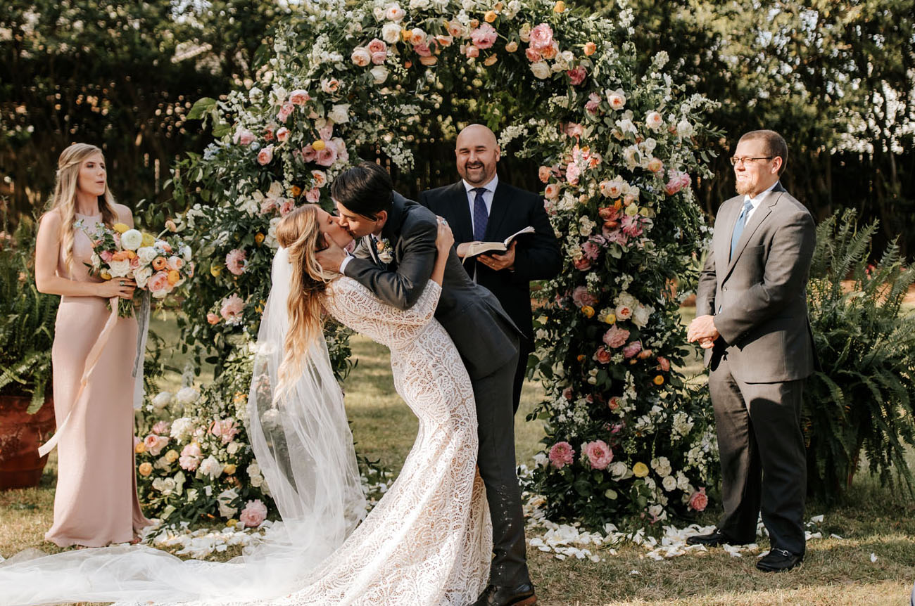 A Floral-Filled Backyard Wedding Ceremony In The Midst Of