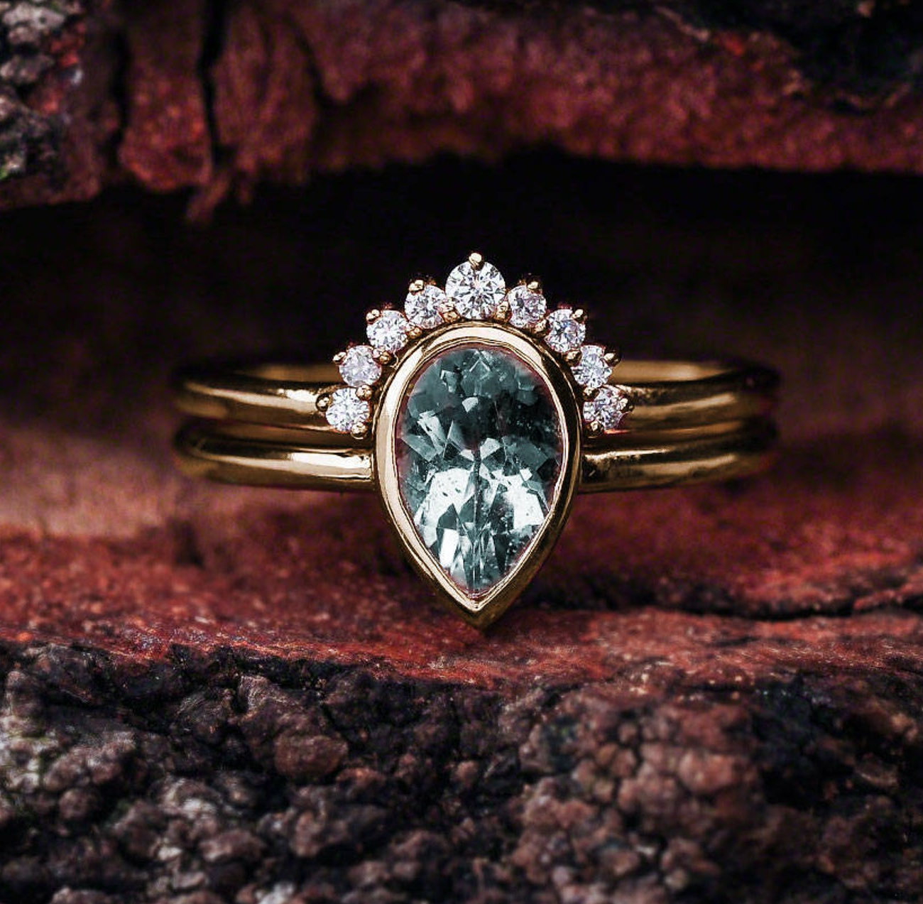 Aquamarine Engagement Ring Set Rose Gold