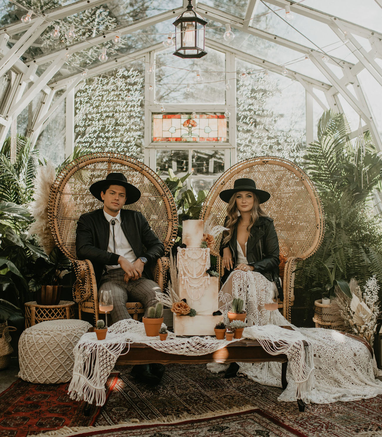 Free Spirited Boho Elopement in a Greenhouse