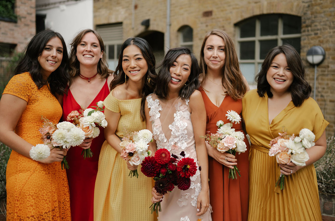 red and yellow bridesmaids