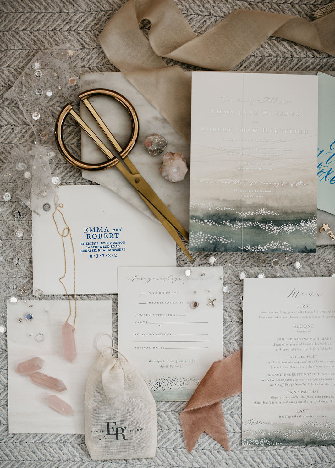 beach inspired invitation