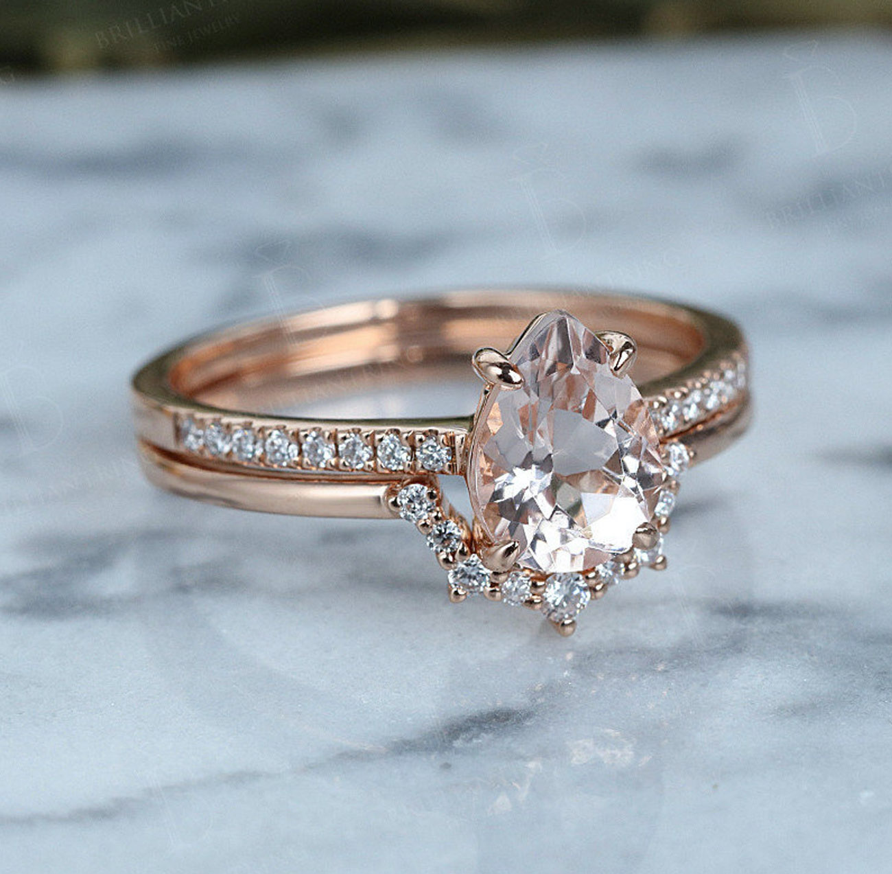 Vintage Morganite engagement ring set art deco ring set Rose gold