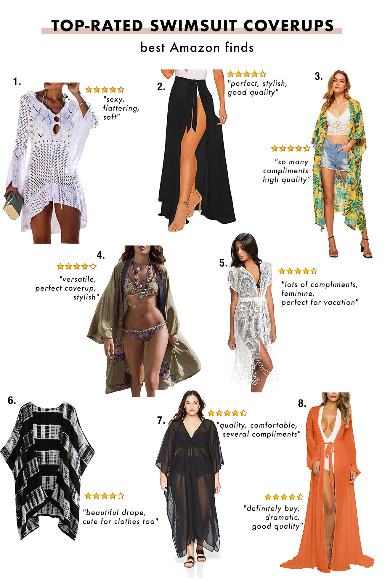 """Best swimsuit coverups at Amazon """"width ="""" 1300 """"height ="""" 1954 """"data-pin-title ="""" Best swimsuit coverups at Amazon """"data-pin-description ="""" We found the best rated swimsuit coverups at Amazon ! """"Srcset ="""" https://greenweddingshoes.com/wp-content/uploads/2020/07/Amazon-swimsuits-2.jpg 1300w, https://i0.wp.com/greenweddingshoes.com/wp-content/uploads / 2020/07 / Amazon swimsuits-2.jpg? Resize = 200.300 200w, https://i0.wp.com/greenweddingshoes.com/wp-content/uploads/2020/07/Amazon-swimsuits-2.jpg?resize=681, 1024 681w, https: // i0. wp.com/greenweddingshoes.com/wp-content/uploads/2020/07/Amazon-swimsuits-2.jpg?resize=768,1154 768w, https: //i0.wp .com / greenweddingshoes.com / wp-content / uploads / 2020/07 / Amazon swimsuits-2.jpg? resize = 337.506 337w, https://i0.wp.com/greenweddingshoes.com/wp-content/uploads/ 2020/07 / Amazon-Badeanzüge-2.jpg? Resize = 800.1202 800w, https://i0.wp.com/greenweddingshoes.com/wp-content/uploads/2020/07/Amazon-swimsuits-2.jpg? resize = 400,601 400w, https://i0.wp.com/greenweddingshoes.com/wp-content /uploads/2020/07/Amazon-swimsuits-2.jpg?resize=1022,1536 1022w, https: // i0. wp.com/greenweddingshoes.com/wp-content/uploads/2020/07/Amazon-swimsuits- 2.jpg? Resize = 300,451 300w """"Sizes ="""" (maximum width: 1300px) 100vw, 1300px """"/> 1. Net Bikini Cover-Up $ 19.99 // 2. Wrap Skirt Swimsuit Cover-Up $ 11.87 - $ 25.99 // 3. Kimono Maxi Dress $ 13.99 - $ 23.99 // 4th Chiffon Long Kimono Beach Blouse $ 23.99 // 5th Floral Lace Cover-Up $ 12.99 - $ 18.98 // 6th Kimono Beach Cover-Up $ 14.99 - $ 23.99 // 7th Long Black Beach Cover-Up $ 12.89 - $ 55.00 // 8.Long sleeve maxi swimsuit robe $ 19.99 - $ 25.88</p> <h4 style="""