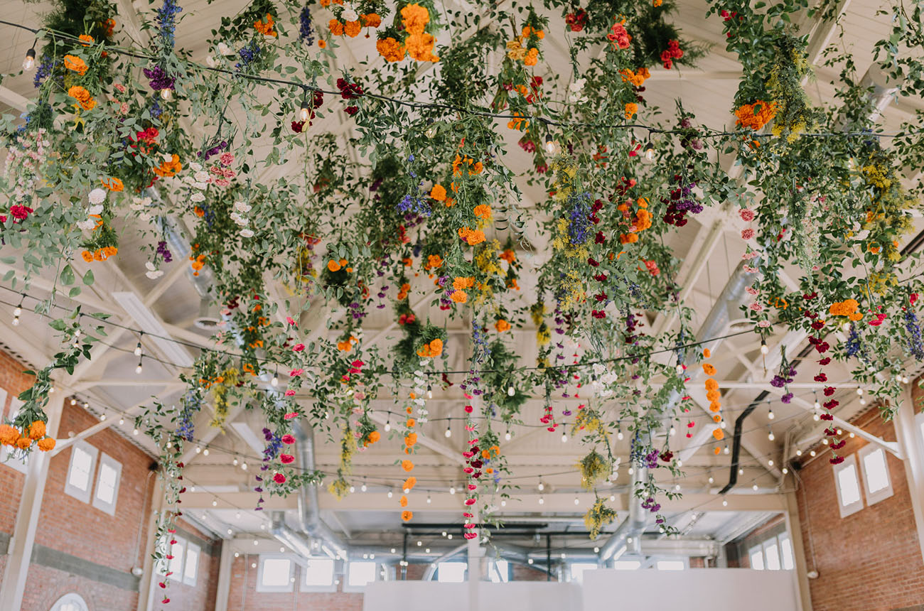 hanging flower ceiling