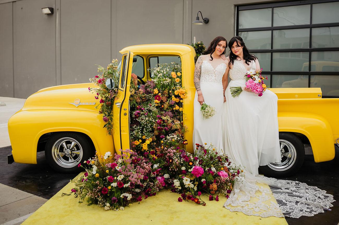 flower filled vintage truck
