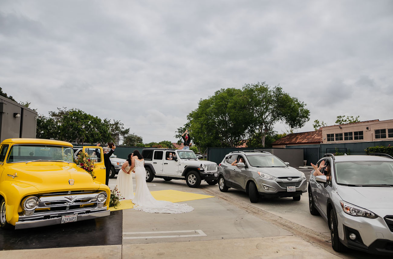 Colorful Drive Thru Wedding